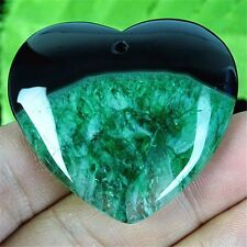44x48x9mm Green/Black Drusy Geode Agate Heart Pendant Bead By7287