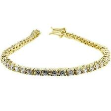 14K GOLD EP 4 CT DIAMOND SIMULATED TENNIS LINK BRACELET