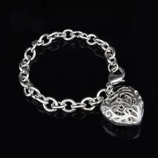 """NEW 925 Silver Heart Link Bracelet Valentine's Gift 7.5"""" Dress Toggle Clasp US"""