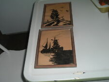 Pair of Framed Vintage Dutch Pen and Ink Drawings Windmill and Sailing Ship