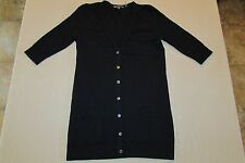 "VINCE Light Weight 100% CASHMERE 30"" Long CARDIGAN Navy BLUE Pockets Ruching S"