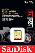 SanDisk Extreme 64 GB SDXC Memory Card up to 90 MB/s,Class10, U3 UK seller