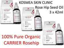 3 x 42ml KOSMEA SKIN CLINIC Rose Hip Seed Oil 100% Pure Organic CARRIER Rosehip