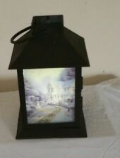 Thomas Kinkade Flickering or Steady Lantern 8 inches Tall With Handle