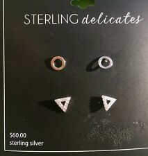 'STERLING DELICATES' SET OF 2 PAIR OF STERLING SILVER EARRINGS MSRP: $60 NEW !