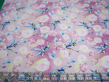 1 Yard Quilt Cotton Fabric- Springs Disney Tinkerbell Toss Pink with Roses