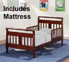 Wood Toddler Bed Cherry Finish WITH MATTRESS Kids Furniture Sleigh Wooden