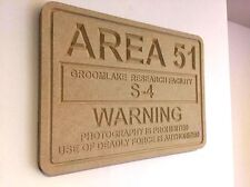 Area 51 S-4 UFO Alien Groomlake Sign / Plaque MDF 35cm x 25cm Wood Home Xfiles