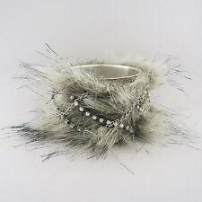 Furry Gray Bangle Bracelet with Clear Rhinestones