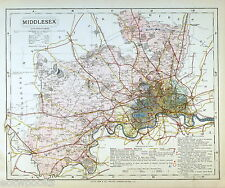 MIDDLESEX - Original Antique County Map - LETTS, 1884, suitable for framing