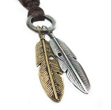 Men Womens Vintage Sweater Chain Feather Pendant Genuine Leather Long Necklace