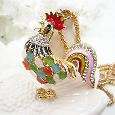 Gold Plated Opal Cock Rooster Rainbow Color Tail Pendant Chain Sweater Necklace