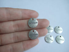20 Tibetan Silver Tone Hand Made Engraved Round Charms Pendants Beads 14mm
