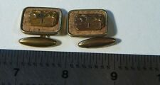 Horse Riding Jumping Cuff Links Vintage Brass and Cork ~ 1950s ~ Nice