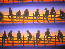 COWBOY ON FENCE WESTERN BORDER PURPLE BLUE ORANGE COTTON FABRIC FQ