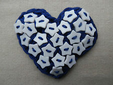 BLUE - Handmade Crochet Heart & White All Stars BUTTON Corsage/Brooch