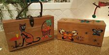"Vintage Enid Collins ""Glitter bugs"" Box Bag Wooden Purse Handbag Jeweled bugs"