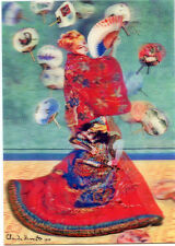 3D Lenticular Postcards - Madame Monet in Japanese kimono by Claude Monet