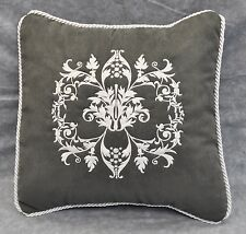 "Embroidered White Floral Pillow made w/ Gray Faux Suede Fabric 12"" trim cording"