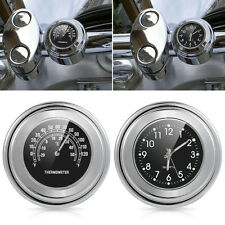 "7/8"" 1"" Motorcycle Handlebar Clock Chrome Black Dial Temp Thermometer For Harley"