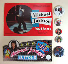 MICHAEL JACKSON 5 Different Pinback Buttons Plus Promo Card & Sticker
