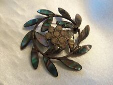 (MEXICO) AWESOME Vintage Aged Silver 925 TCS ABALONE Shell Inlay Brooch 15BR175