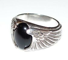 Eagle Wing Ring in Sterling Silver w/ natural Black ONYX - Size 11 Wide Ring