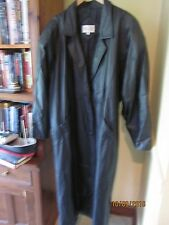 Winlit Trench coat Leather womens Large black padded shoulders