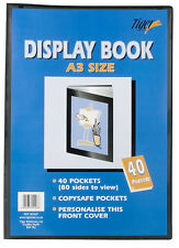 A3 Black Artwork Document Display Book 40 Pocket Presentation Folio Folder