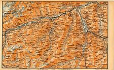 Carta geografica antica SVIZZERA Reno Anteriore Old Map Switzerland Suisse 1905