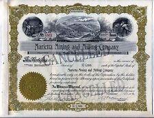Marietta Mining & Milling Company Stock Certificate Spokane Washington