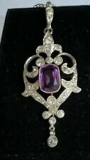 American Victorian/Edwardian Paste Amethyst &Crystal set Lavalier on Chain Boxed