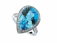 Blue Topaz Pear Shape& Diamond Ring 14KWG w/ 0.75 Carats of Small Round Diamonds