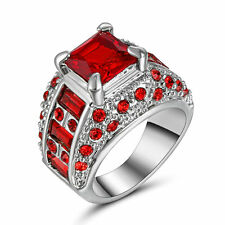 Lady/Women's Silver 14KT White Gold Filled Ruby Wedding Ring Gift size 6