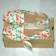 TOMS Women's Classic Tropical Floral Burlap Shoes Size 5