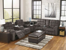 MARINO-3pcs Modern Gray Chenille Reclining Sofa Couch Sectional Set Living Room
