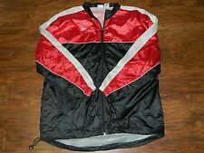 Reebok Men's XL Nylon Windbreaker Track Jacket Color Block Black Red White