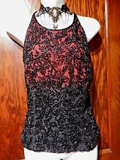 CACHE vintage ombre dip-dyed red black silk beaded blouse tank top cami shell L