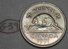 Canada 1991 5 Cents Elizabeth II Canadian Nickel Five Cent Lot #G39