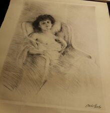 Otto GOETZE(1868-1929) German secessionist nude original old etching drypoint
