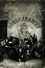 Sons of Anarchy Vintage Poster whole crew black and white hogs motorcycle club