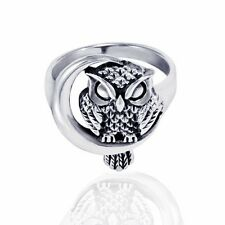 Chuvora 925 Sterling Silver Owl Women Ring Crescent Moon Size 7 Velvet Pouch New