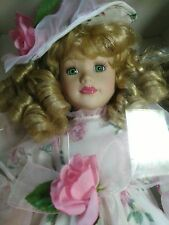 Victorian pink roses doll Rose Collection-Porcelain Doll 1997 in original box