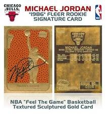 MICHAEL JORDAN 1986 Fleer ROOKIE Feel The Game Signature 23KT Gold Card Sculpted
