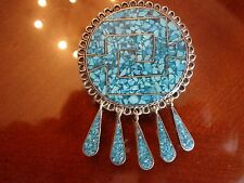 VINTAGE MEXICO STERLING SILVER TURQUIOSE PIN OR PENDANT--925--