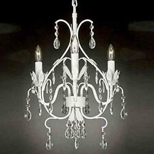 Wrought Iron Crystal Chandelier Lighting Country French White Ceiling Fixture