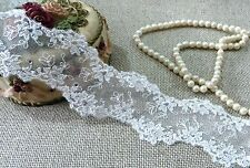 White French Embroidered Diamante Lace Trim Bridal Evening TuTu 50 mm #6WE444B