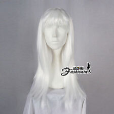 White Cosplay Women Full Wig 60cm Party Wig Anime Hair Straight Ladies Long
