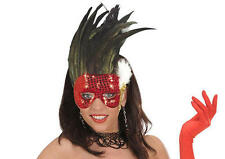 Moulin Rouge Red Eyemask Eye Mask With Feathers Fancy Dress