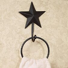 Primitive Country Rustic Iron/Metal Black Barn Star Farmhouse Wall Towel Ring